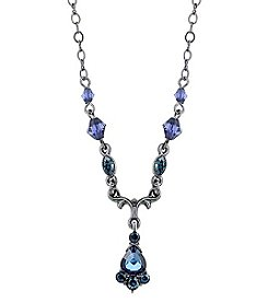 1928® Signature Jet with Blue Drop Necklace