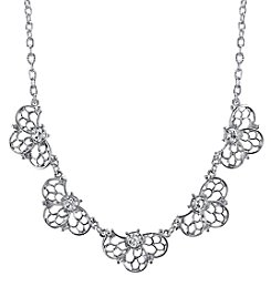 1928® Jewelry Silvertone Crystal Collar Necklace
