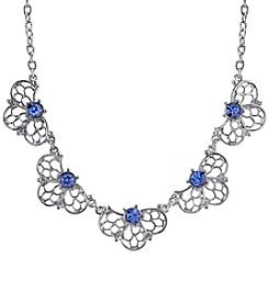 1928® Jewelry Silvertone Blue Collar Necklace