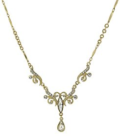 1928® Signature Goldtone Crystal Teardrop Necklace