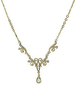 1928® Signature Goldtone Crystal Teardrop Necklace