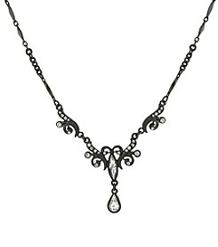 1928® Signature Jet Crystal Teardrop Necklace
