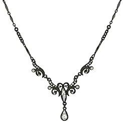1928® Signature Jet Crystal Teardrop Necklace