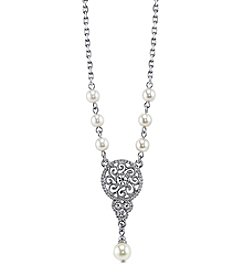 1928® Signature Silvertone Crystal with Simulated Pearl Drop Necklace