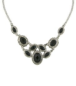1928® Signature Silvertone Black Bib Necklace