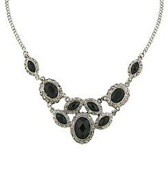 1928® Signature Silvertone Black Bib Necklace