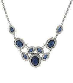 1928® Signature Silvertone Blue Bib Necklace