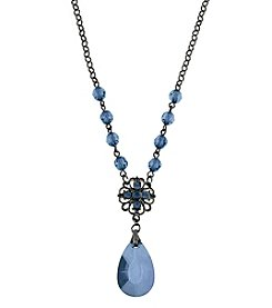 1928® Signature Jet Blue Briolette Teardrop Necklace