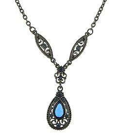 1928® Signature Jet Blue Teardrop Necklace