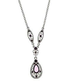 1928® Signature Silvertone Amethyst Purple Teardrop Necklace