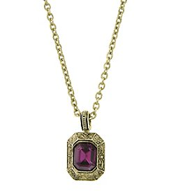 1928® Signature Goldtone Purple Square Pendant Necklace