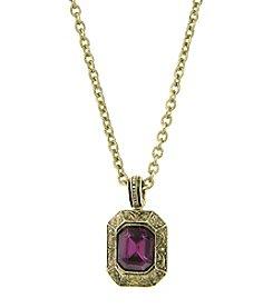 1928® Signature Goldtone Purple Square Pendant Necklace