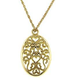 1928® Signature Goldtone Large Filigree Oval Necklace