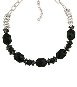 1928® Signature Silvertone Black and Hematite Color Beaded Necklace