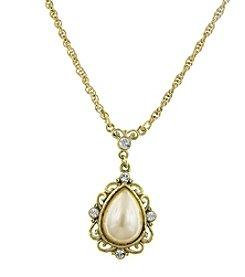 1928® Signature Goldtone Simulated Pearl and Crystal Pear-shaped Pendant Drop Necklace
