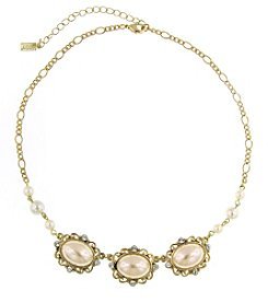 1928® Signature Goldtone Simulated Pearl and Crystal Collar Necklace