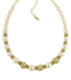 1928® Signature Goldtone Simulated Pearl and Filigree Beaded Necklace