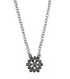 1928® Signature Silvertone Hematite Cluster Pendant Necklace