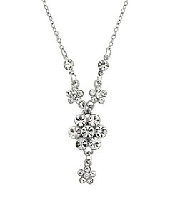 1928® Signature Silvertone Crystal Flower Cluster Necklace