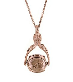 1928® Jewelry Rose Goldtone 3 Sided Spinner Locket Necklace