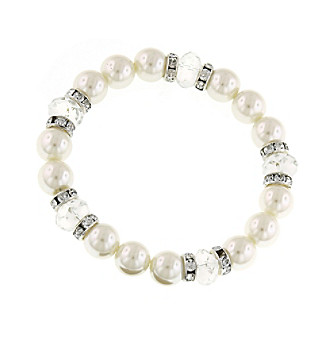 1928® Jewelry Silvertone Simulated Pearl and Crystal Stretch Bracelet