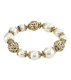 1928® Jewelry Goldtone Simulated Pearl with Filigree Stretch Bracelet