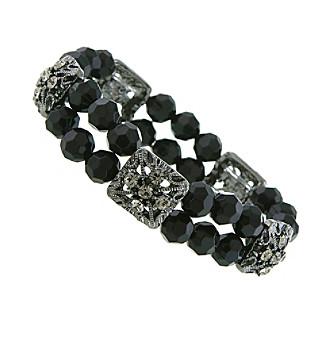 1928® Jewelry Jet Black Beaded Stretch Bracelet