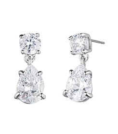 Givenchy® Silvertone Cubic Zirconia Drop Earrings