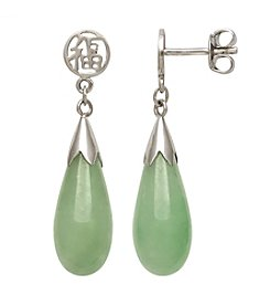 0.925 Sterling Silver Jadeite Teardrop Earrings