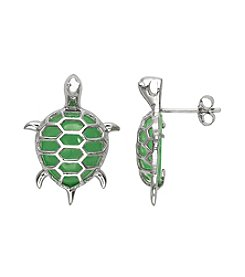 0.925 Sterling Silver Jadeite Turtle Earrings
