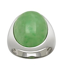 0.925 Sterling Silver Jadeite Cabochon Ring