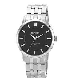 Armitron® Men's Black Sunray Dial Silvertone Bracelet Watch