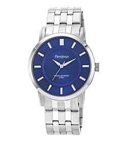 Armitron® Men's Blue Sunray Dial Silvertone Bracelet Watch