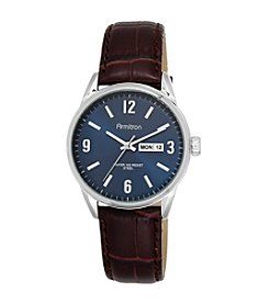 Armitron® Men's Day/Date Function Brown Croco-Grain Leather Strap Watch