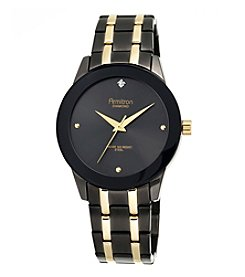 Armitron® Men's Diamond-Accented Black and Goldtone Bracelet Watch