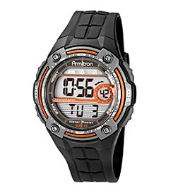Armitron® Men's Orange Accented Digital Chronograph Black Resin Strap Watch