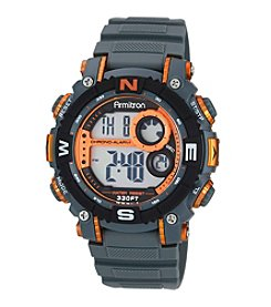 Armitron® Men's Orange Accented Digital Chronograph Grey Resin Strap Watch