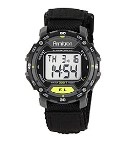 Armitron® Men's Lime Green Accented Digital Chronograph Black Velcro Strap Watch