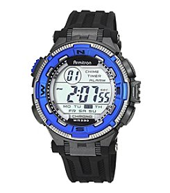 Armitron® Men's Blue Accented Digital Chronograph Black Resin Strap Watch