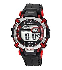 Armitron® Men's Red Accented Digital Chronograph Black Resin Strap Watch
