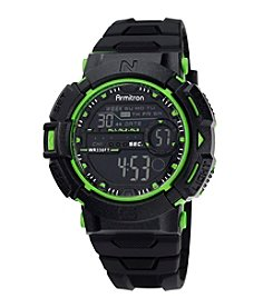 Armitron® Men's Green Accented Digital Chronograph Black Resin Strap Watch