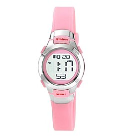 Armitron® Women's Digital Chronograph Pink Resin Strap Watch
