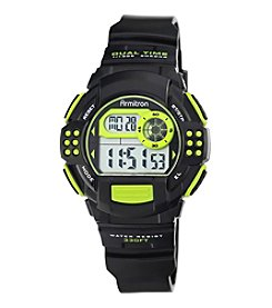 Armitron® Lime Green Accented Digital Chronograph Black Resin Strap Watch