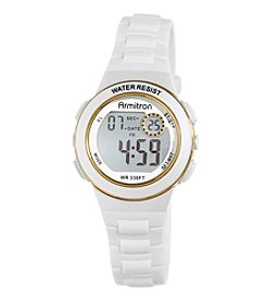 Armitron® Women's Goldtone Accented Digital Chronograph White Resin Strap Watch