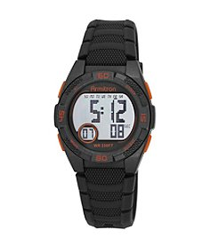 Armitron® Orange Accented Digital Chronograph Grey Silicone Strap Watch