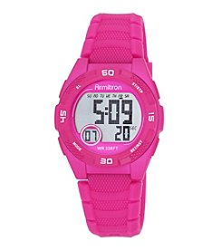 Armitron® Women's Digital Chronograph Magenta Silicone Strap Watch