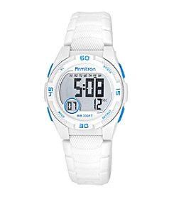 Armitron®  Blue Accented Digital Chronograph White Silicone Strap Watch