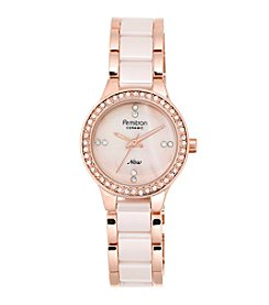 Armitron® Women's Swarovski Crystal Accented Rose Goldtone and Blush Pink Ceramic Bracelet Watch