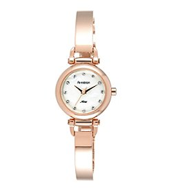 Armitron® Women's Swarovski Crystal Accented Rose Goldtone Bangle Watch