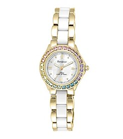 Armitron® Women's Multicolor Swarovski Crystal Accented Goldtone and White Ceramic Bracelet Watch